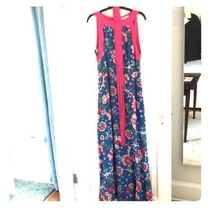 Boden Cerulean and Pink Floral-Pattern Dress